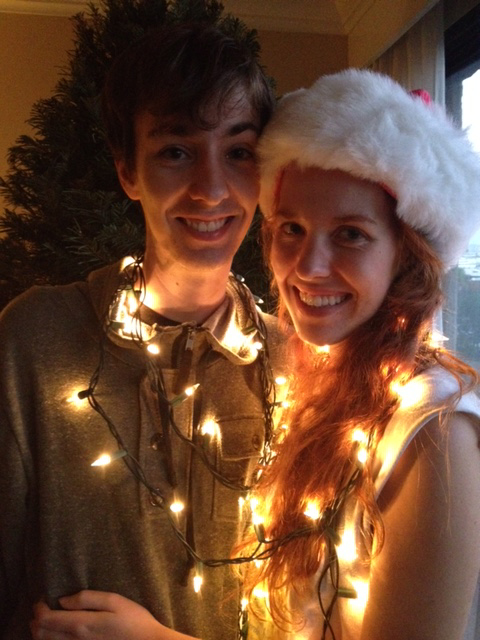 Jerick and Dede O'Brien having fun with LED holiday lights