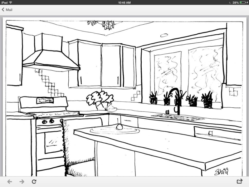 Kitchen redesign concept sketch